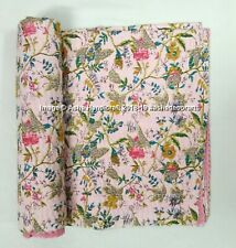 Indian Pink Paradise Kantha Quilt Queen Size Bed Cover Blanket Bedding Quilts