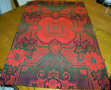 New listing antique vintage Red & Green Coverlet Piece Christmas table runner mat crafts