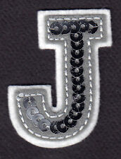 """LETTERS - Silver  Sequin  2"""" Letter """"J"""" - Iron On Embroidered Applique"""