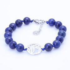"10mm Blue Lapis Lazuli Bracelet With gemstoneking Charm and 1"" Extender"