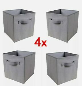 * Foldable Storage Boxes Set of 4 Storage Cubes Organiser Collapsible Fabric :