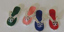 4 Enamel Rhinestone Silver Pink Blue Green Red Beach Flip Flop Charms No loop