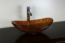 Bathroom Artistic Glass Vessel Vanity Sink ChromeFaucet & Drain  B6681C3