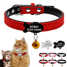 Cosy Suede Leather Cat Collars & Tags Personalized Fish Id Name Phone Tag Collar