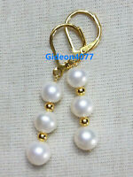 PERFECT AAA 7-8 MM Real natural akoya white pearl earrings 14K yellow gold