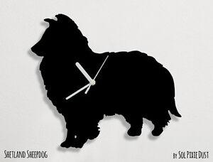 Shetland Sheepdog Dog Silhouette - Wall Clock