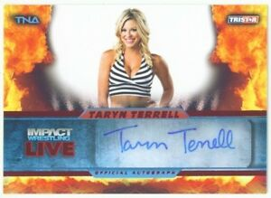 """TARYN TERRELL """"RED PARALLEL AUTOGRAPH CARD #3/5"""" KNOCKOUT TNA IMPACT LIVE 2013"""