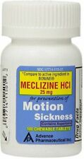 Meclizine 25 mg Generic Bonine Motion Sickness 100 Chewable Tablets per Botlle