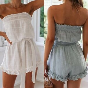 Womens Jumpsuit Bandeau Strapless Summer Beach Playsuit Shorts Clubwear Rompers
