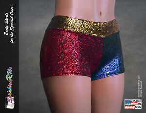 NEW! Harley Quinn Inspired Red/Blue/Gold Combo Booty Shorts!