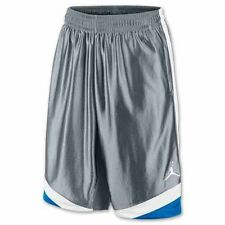 NEW NIKE AIR JORDAN MEN'S COURT VISION BASKETBALL SHORTS GREY BLUE WHITE SZ/ S