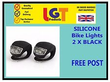 2 X BLACK LED SILICONE BIKE BICYCLE CYCLE FRONT CAMPING BACKPACK LIGHT