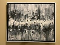 Grey Black & White Abstract original modern acrylic canvas painting | ships free