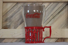 CLEAR COCA COLA DINER BELL SHAPE GLASS RED PLASTIC HOLDER CAFE SODA FOUNTAIN CUP