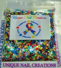 Limited Edition Glitter Mix~AUTISM AWARENESS* Comes With Alloy~ Nail Art