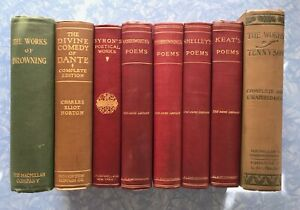 Eight leather-bound classic books: Browning, Byron, Dante, Keats, Shelley...