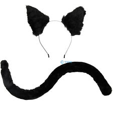 Cat Fox Ear Cat Tail Fur Clip Headband Neko Anime Cosplay Party Costume Gift C