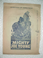 MIGHTY JOE YOUNG RARE ADVERTISEMENT flyer HERALD INDIA BOMBAY HOLLYWOOD 1949