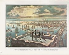 """1972 Vintage Currier & Ives """"NY HARBOR BROOKLYN BRIDGE"""" Color Print Lithograph"""