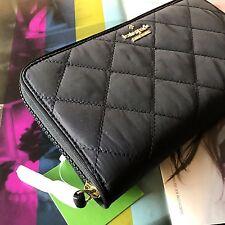 NWT Kate Spade Black Quilted Ridge Street Maia Large Travel Wallet Zip Around