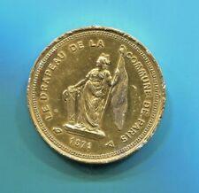 """BEAUTIFUL HISTORICAL RARE """"LE DRAPEAU DE LA COMMUNE DE PARIS"""" GILDED MEDAL, 1871"""