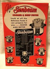 Sunbeam Cooker & Deep Fryer Cook Guide Owner's Manual 1952 Plus Guarantee Card