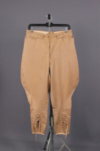 Men's 1930s Button Fly Khaki Cotton Equestrian Breeches 31W 30s Jodhpurs Pants