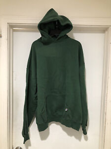 Vintage 90s Russell Athletic Blank Green Pullover Hoodie Size 2XL 50/50 Faded