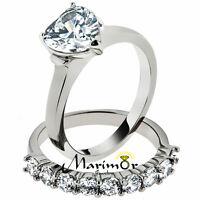 2.7 Ct Heart Cut Cubic Zirconia Stainless Steel Wedding Ring Set Women's Sz 5-10