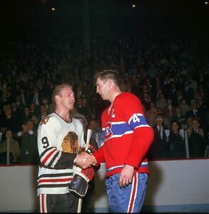 Jean Beliveau Montreal Canadiens, Bobby Hull Chicago Blackhawks 8x10 Photo