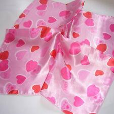 Pink heart Soft Neckerchief Shawl Head Bandanas Square Scarf Satin