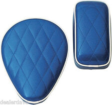 Le Pera Solo Seat & Pillion Pad Combo Blue Metal-Flake Harley Bobbers Kustoms