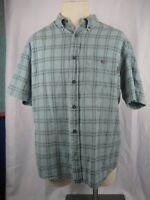 Men's Woolrich SS Green Plaid Cotton Shirt size L/G