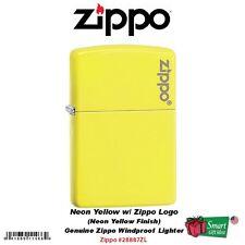 Zippo Logo Neon Yellow Pocket Lighter, Genuine USA Windproof #28887ZL