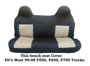 Black/Beige Mesh Fabric Bench seat cover Fit's Ford F550,F650,F750 99-08 Truck's