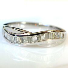 RRP £600 0.50 Carat Baguette Diamond Half Eternity Ring in Heavy White Gold