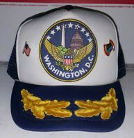 Washington D.C. - Vintage 1980's Snapback Mesh-Back Trucker Hat Cap Blue w/ Pins