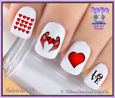 Nail Art V7611 Valentines Red Heart w/ Wings WaterSlide Nail Decals Transfers