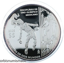 MEXICO 5 PESOS 2008 JUEGO PELOTA OLYMPIC MEETING 2 WORLDS SILVER RARE PROOF ZG34