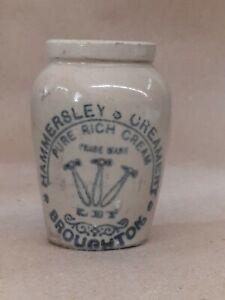 Cream JAR POT ironstone advertising English typography Hailwoods pure creamery