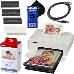 Canon SELPHY CP1300 Wireless Compact Photo Printer (White) + KP-108 Film + USB