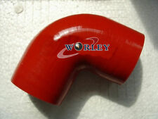 """89mm 3 1/2"""" 90° Degree Elbow Silicone Hose Turbo Intake Intercooler Pipe RED"""