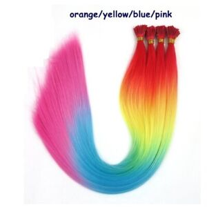 """22"""" Colourful Rainbow Feather Hair Extensions Plus Free Beads Included I Tip"""