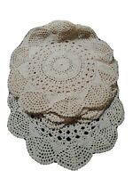 """Vintage lot 8 Medium Doilies 10"""" Beige White Hand Made Doily plate size placemat"""