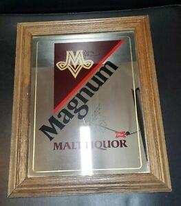 "1980's Vintage Miller Logo Magnum Malt Liquor  Mirror Sign 18""x14"" Bar Decor"