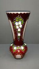 Überfang Vase - Emaillemalerei - Böhmen ?