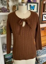 BURBERRY Cashmere Sweater Pussy Bow Neck Tie Sz L brown