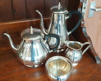 Good Vintage Four Piece Poston Products Sheffield Silver Plate on Copper Teaset