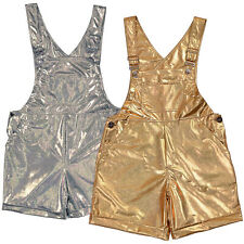 Adult Metallic look Dungarees Ladies Mens Shorts Hotpants Festival Fancy Dress