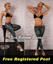 LEGGINGS Black Leopard Design size O/S Aust 8-14